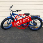 "Sold Out - Blue ELECTRIC FAT TIRE BEACH BIKE sells for $1350 - The fat tire ""Blue Cruiser"" electric beach bike comes in men's style with fenders and back rack. The battery life provides a range of approximately 25 miles at full throttle or roughly 40 miles with peddling. Maximum speed is about 27 mph. Battery charging time is 4-6 hours. Main Components: Aluminum alloy frame, 48 volt Samsung 15 amp lithium ion battery with charger, 48 volt 500 watt BaFung motor and rear hub, 4"" Kenda Tires front & rear 26"" , Aluminum alloy double wall wheels, Tektro front & rear disc brakes, Shimano 7 speed derailer & shifter, Thumb throttle, Front Light, Front & Rear Fenders with chain guard. Warranty: Motor, battery, frame & controllers have a 24-month warranty. Replacement Parts We stock all replacement & maintenance parts and will ship to you or you can pick up in our store. We would also be happy to assist you with repair in our shop or on the phone!"
