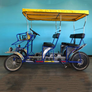 Our SURREY TOWN PEDDLE BIKE rents for $40 per hour (Town Only) Seats up to 6 with two additional seats up front for small children (1600 lb weight limit)